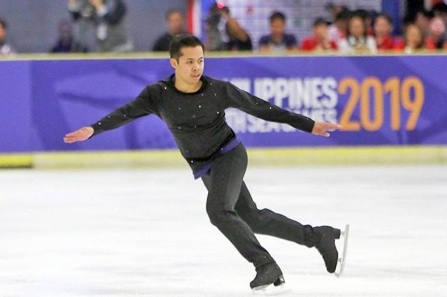 Filipino skater Christopher Caluza shows his silver-medal winning performance in the Men's Free Skating Competition in the 30th Southeast Asian Games held at SM Megamall in Mandaluyong City on Sunday, December 1, 2019. Zeke Alonzo