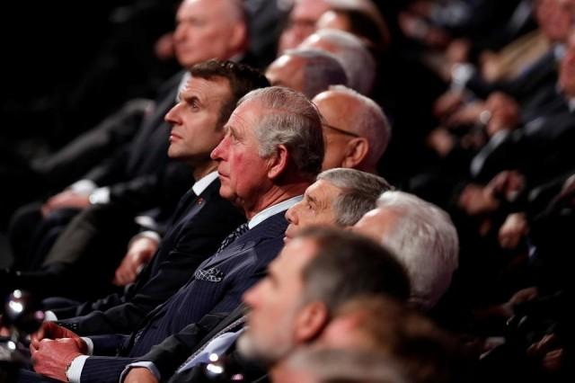 Britain's Prince Charles and French President Emmanuel Macron attend the World Holocaust Forum marking 75 years since the liberation of the Nazi extermination camp Auschwitz, at Yad Vashem Holocaust memorial center in Jerusalem January 23, 2020. REUTERS/Ronen Zvulun/Pool