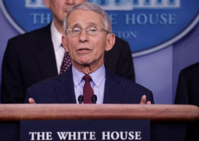 Director of National Institutes of Health Infectious Disease Anthony Fauci speaks to reporters about Trump administration efforts in regards to the corona virus outbreak in China, during a news briefing at the White House in Washington, U.S., January 31, 2020. REUTERS/Leah Millis
