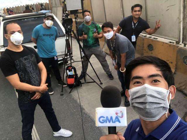 TV Journalist James Agustin and his crew, covering the lockdown.