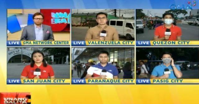 Reporters on live coverage during the early morning show Unang Hirit before airing was suspended due to safety concerns.