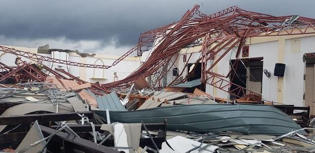A facility meant for suspected COVID-19 cases is among those destroyed by Severe Tropical Storm Ambo when it lashed Eastern Visayas on Thursday, May 14, 2020. Photo courtesy of Gov. Ben Evardone