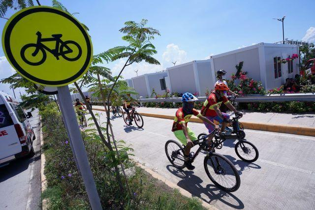 The Taguig City government sets up bike lanes on Wednesday, June 3, 2020, coinciding with the World Bicycle Day to emphasize the role of biking as an essential mode of transportation for both residents and workers.