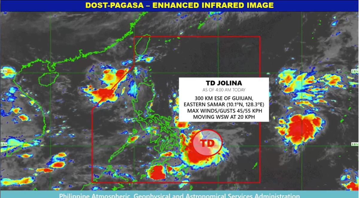 7 areas under Signal No. 1 as TD Jolina slightly intensifies