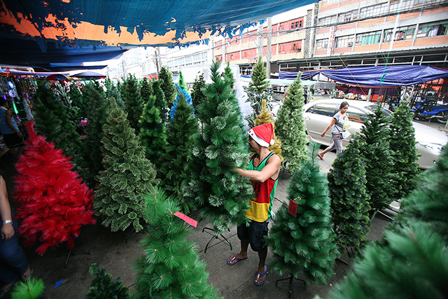 plastic christmas trees await buyers in divisoria