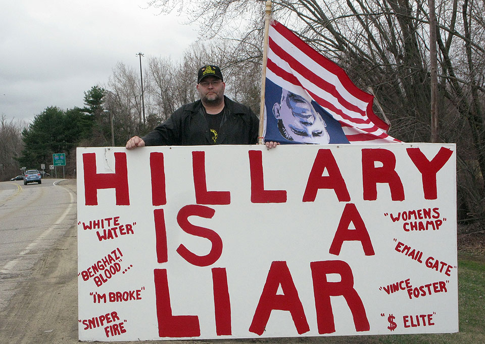 Lone protester greets Hillary Clinton in New Hampshire