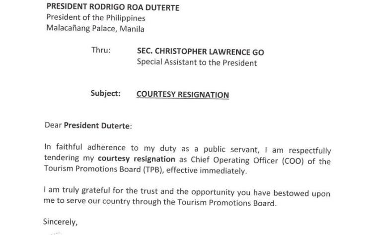 immediate resignation letter philippines cesar montano thanks duterte in resignation letter news 10160
