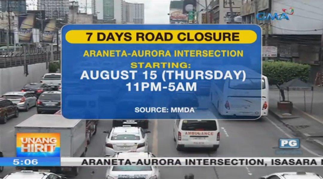 Araneta-Aurora intersection closed for 7 nights
