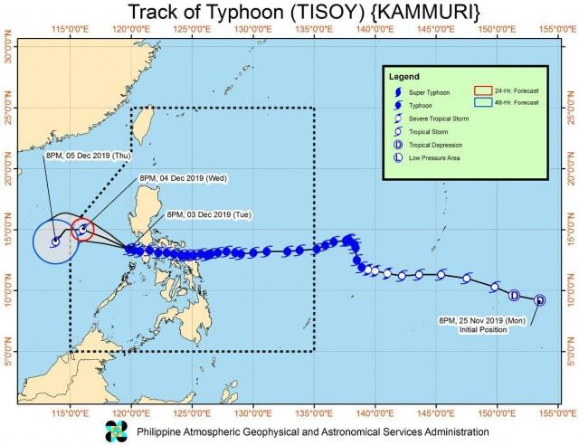 Track of Typhoon Tisoy as of 11 p.m. on Dec. 3, 2019. PHOTO FROM PAGASA WEBSITE