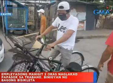 'Walking' Cavite worker receives new bike