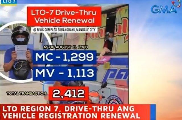 LTO Region 7 has Drive-Thu motor vehicle registration renewal