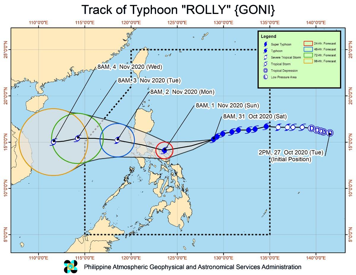 Signal no. 3 raised over Catanduanes as Rolly maintains strength toward Bicol