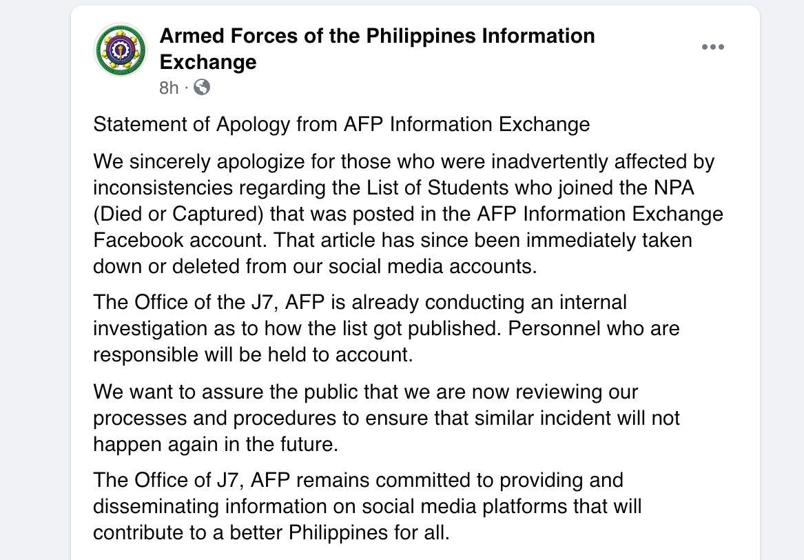 Military apologizes for inconsistencies in list of students who are allegedly NPAs - GMA News Online
