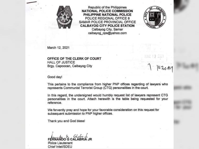 Cops asked Calbayog court for list of lawyers representing Reds, says SC