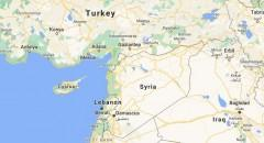 Syria map - border of Turkey
